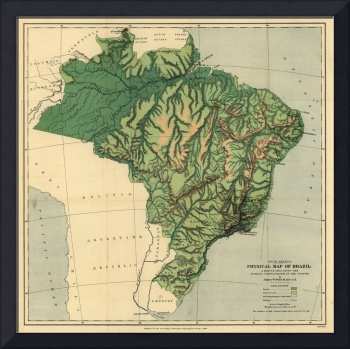 Vintage Physical Map of Brazil (1886)