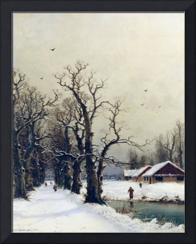 Winter scene, 19th century