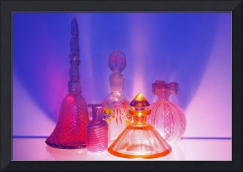 Glass Perfume Bottles - blue/pink