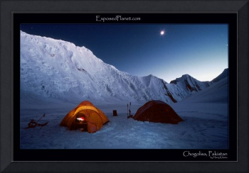 Chogolisa Basecamp, Pakistan at night with moon