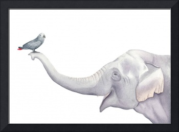 Elephant and Bird Watercolor