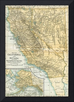 California Nevada Alaska Antique Map 1891