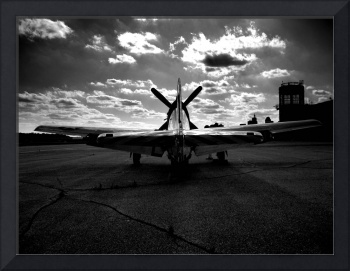 Black and White Fighter Plane on Runway