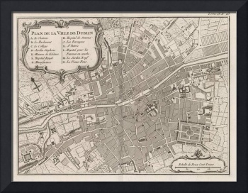 Vintage Map of Dublin Ireland (1764)