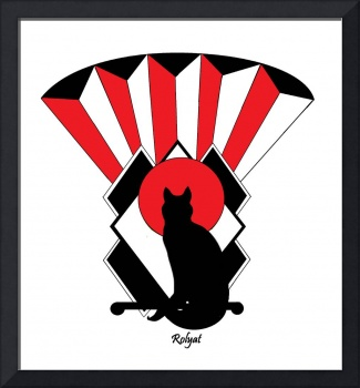 Art Deco Cat in Red 2