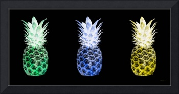 Triptych 14Y Artistic Pineapple Green Blue Yellow