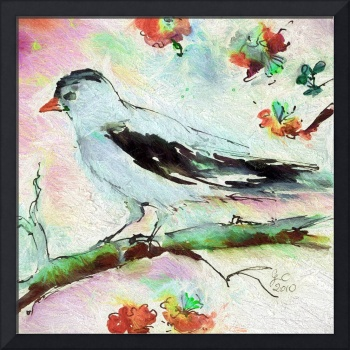 Pale Birds Square Art Vintage Colors