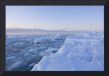 Landscape of sea ice flowing through an open lead