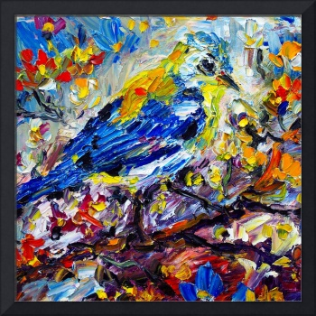 Songbird Blue Impressionist Oil Painting
