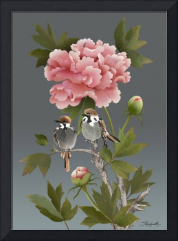 Sparrows and Peony