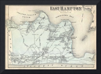 Vintage Map of East Hampton New York (1873)