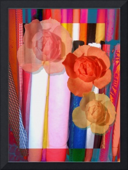 Pink roses on a fabric