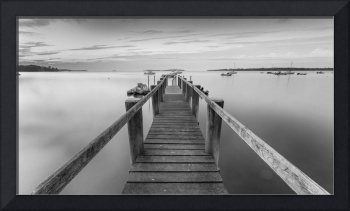 Boat Dock at Sunrise Black-and-white Panorama