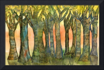 Sunset Trees, landscape modern collage painting