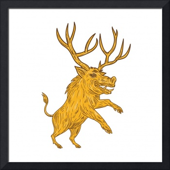 Wild Boar Razorback With Antlers Prancing Drawing