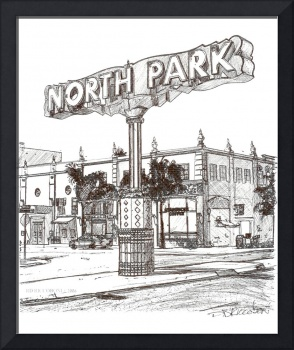 The North Park Sign San Diego drawing by RD Riccob