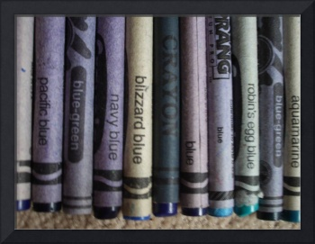 Close-Up Blue Crayons