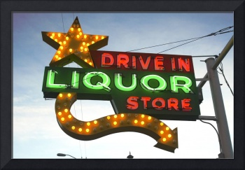 Neon Sign Drive In Liquor