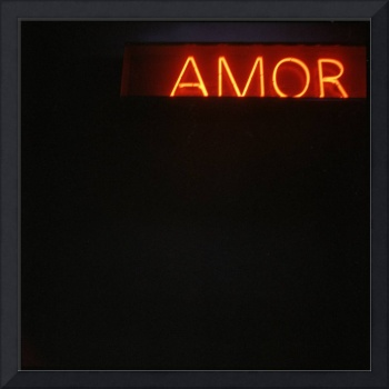 Neon light sign Amor love in Spanish