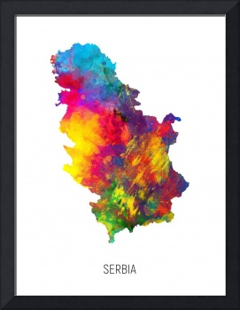 Serbia Watercolor Map