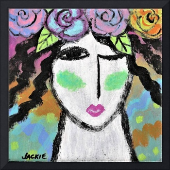 Roses in Her Hair Abstract Acrylic Painting