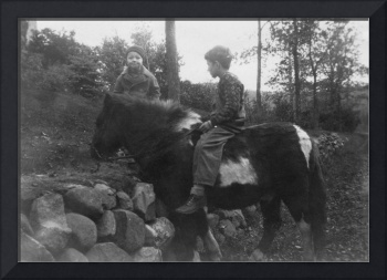Vintage Photo  1920s - 1940s Boy riding a pony -