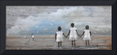 GIRLS AT THE BEACH   FOLK ART