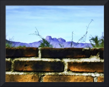 Brick Wall and Mountain Range Landscape