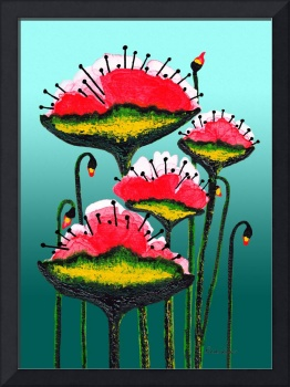 Expressive Red Pink and Green Poppy Field w4e