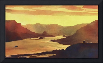 Columbia Gorge watercolor painting