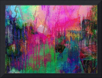 Abstract Painting 621 Pink Green Orange Blue