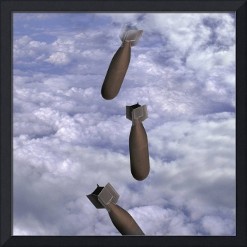 bombs falling through clouds