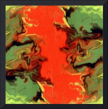 Fluid painting in green and orange