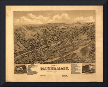 1879 Palmer, MA Birds Eye View Panoramic Map