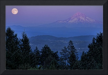 The Moon Beside Mt. Hood