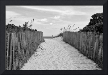Beautiful Beach Day - Black and White