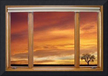 Golden Country Sunrise Window View