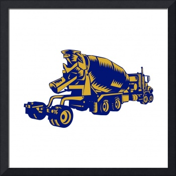 Cement Truck Rear Woodcut