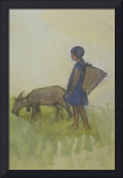 Minnie Agnes Cohen 1864-1940 GIRL WITH A GOAT