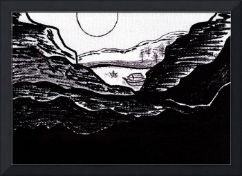 Zen Sumi Midnight Mountain Lake Black Ink on White