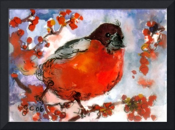 Red Bird in Berry Bush