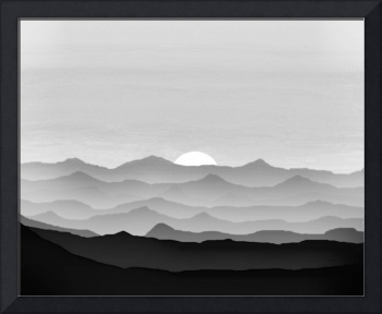 Abstract Decorative Misty Blue Mtn Sunrise B&W Whi
