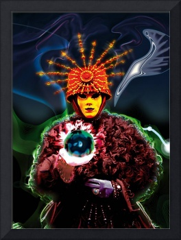 Nagual - magician with mask and crystal ball in hi