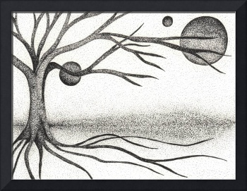 Pen & Ink Ilustration By Boug Ashby. Tree & Moons