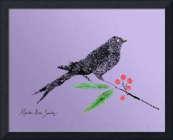 Decorative Black Bird and red Berries on Lavender