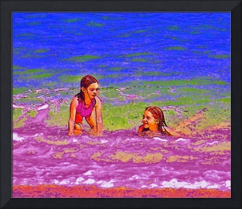 Girls Playing In The Surf