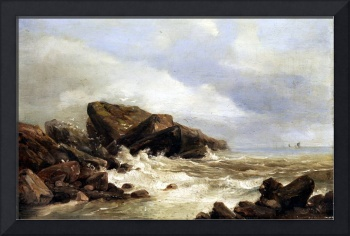 Andreas Achenbach Surf on a Rocky Coast