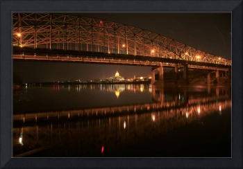 Missouri River Bridge at Night