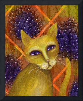 Yellow Cat Portrait with Flower Background