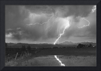 Lightning Striking Longs Peak Foothills 2BW